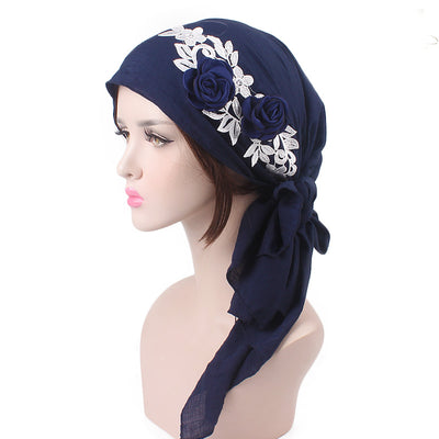 Isabella_Cotton_Floral Bandanna_Hijab_Cancer_hat_Chemo hat_Beanie_Blue