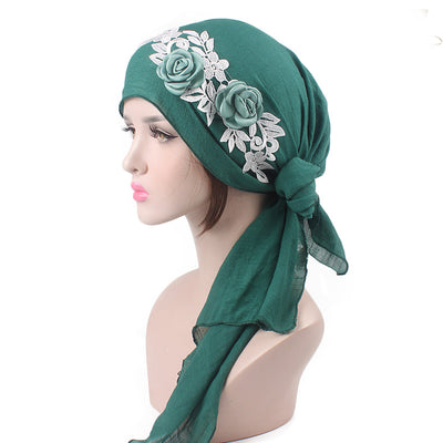 Isabella_Cotton_Floral Bandanna_Hijab_Cancer_hat_Chemo hat_Beanie_Green-2