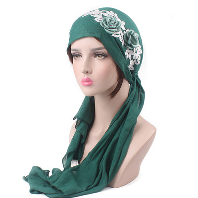 Isabella_Cotton_Floral Bandanna_Hijab_Cancer_hat_Chemo hat_Beanie_Green