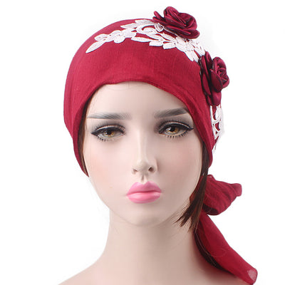 Isabella_Cotton_Floral Bandanna_Hijab_Cancer_hat_Chemo hat_Beanie_Red
