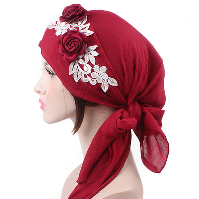 Isabella_Cotton_Floral Bandanna_Hijab_Cancer_hat_Chemo hat_Beanie_Red-2