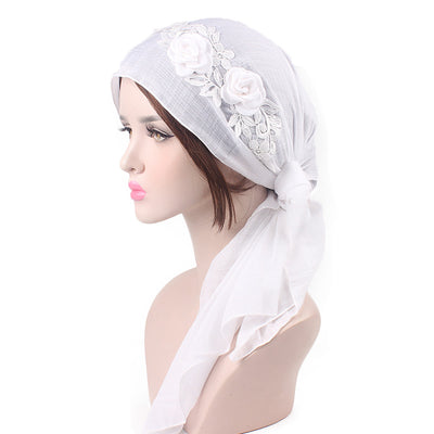Isabella_Cotton_Floral Bandanna_Hijab_Cancer_hat_Chemo hat_Beanie_White