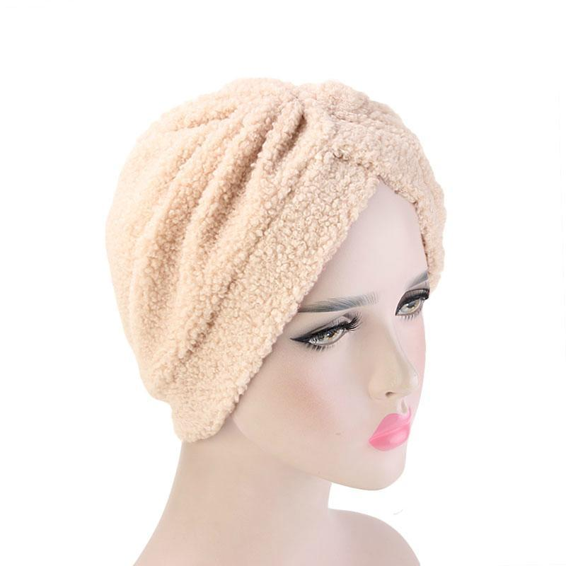 Jackie Winter Fleece Turban Shop Online Winter New Luxury Women Thick polar fleece headwrap Headband Hat Muslim Hijab Turbante for Women Beige