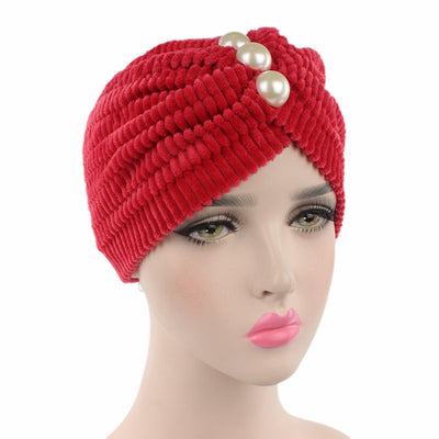 Jan Pearl Turban_Turbans_Head covers_Head covering_Red