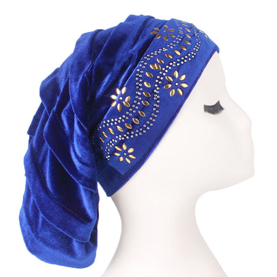Jane Pleated Diamante Hat_Head covering_Buggy hat_Cap_Turban_Modest_Blue