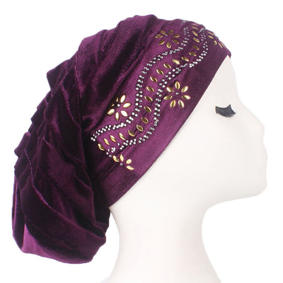 Jane Pleated Diamante Hat_Head covering_Buggy hat_Cap_Turban_Modest_Purple