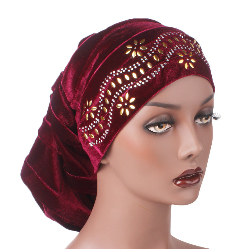 Jane Pleated Diamante Hat_Head covering_Buggy hat_Cap_Turban_Modest_Wine