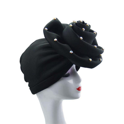 Janie Fancy Peal Hat_Turbans_Head_covering_Modest_Headcovres_Elegant_Chemo hat_Cancer hat_Tea_Party_Hat_Wedding_Hat_Black