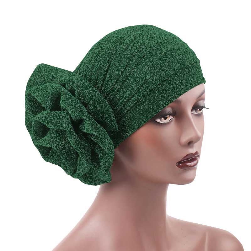 Jewel Shimmer Turban_Head covering_Head wrap_Flower_Shiny_Headcovers_Fancy_Green