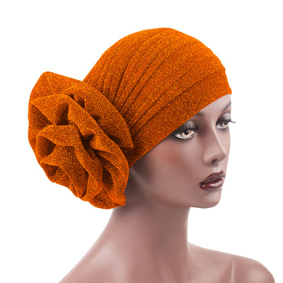 Jewel Shimmer Turban_Head covering_Head wrap_Flower_Shiny_Headcovers_Fancy_Orange