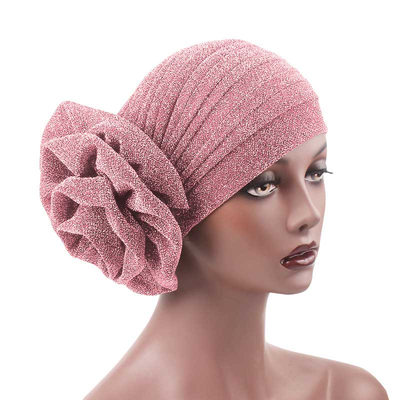 Jewel Shimmer Turban_Head covering_Head wrap_Flower_Shiny_Headcovers_Fancy_Pink