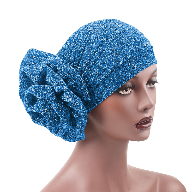 Jewel Shimmer Turban_Head covering_Head wrap_Flower_Shiny_Headcovers_Fancy_Sky_blue