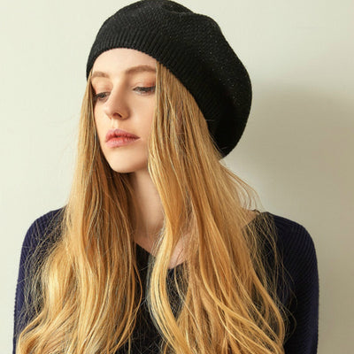 Jill Knitted Beret Women Winter Hat Female Wool knitted berets Luxury Rhinestone Caps Fashion Solid color Black
