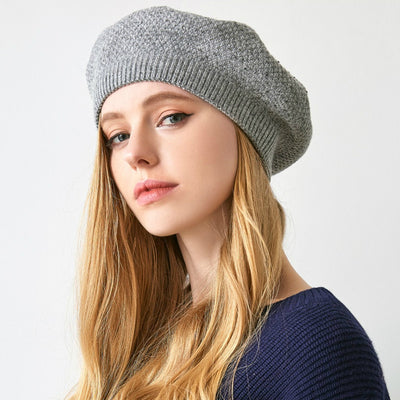 Jill Knitted Beret Women Winter Hat Female Wool knitted berets Luxury Rhinestone Caps Fashion Solid color Gray