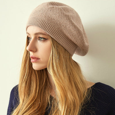 Jill Knitted Beret Women Winter Hat Female Wool knitted berets Luxury Rhinestone Caps Fashion Solid color Khaki