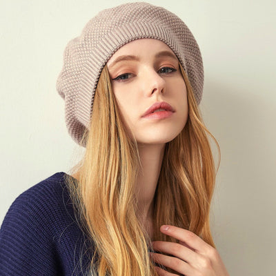 Jill Knitted Beret Women Winter Hat Female Wool knitted berets Luxury Rhinestone Caps Fashion Solid color Khaki-2