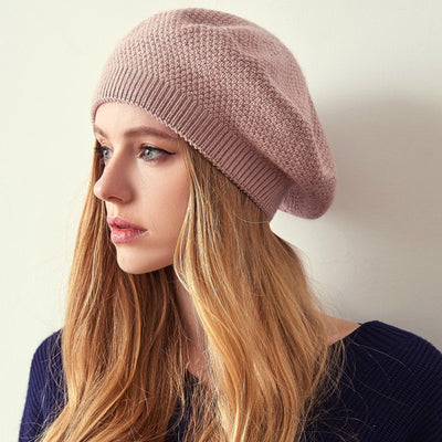 Jill Knitted Beret Women Winter Hat Female Wool knitted berets Luxury Rhinestone Caps Fashion Solid color Pink