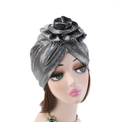 Jo Shiny Flower Turban Elegant  Luxury Hat Cancer Chemo Caps Beanies Muslim Turbante Party Hijab Bandanas Hair accessories Headwrap Black-4