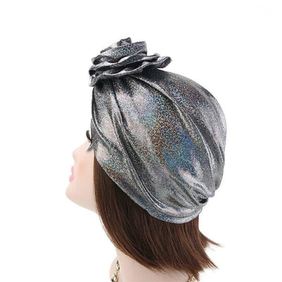 Jo Shiny Flower Turban Elegant  Luxury Hat Cancer Chemo Caps Beanies Muslim Turbante Party Hijab Bandanas Hair accessories Headwrap Black-3