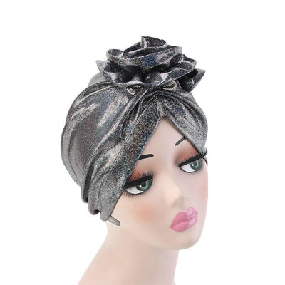 Jo Shiny Flower Turban Elegant  Luxury Hat Cancer Chemo Caps Beanies Muslim Turbante Party Hijab Bandanas Hair accessories Headwrap Black