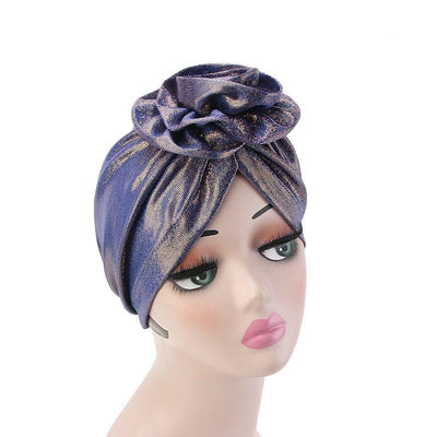 Jo Shiny Flower Turban Elegant  Luxury Hat Cancer Chemo Caps Beanies Muslim Turbante Party Hijab Bandanas Hair accessories Headwrap Blue