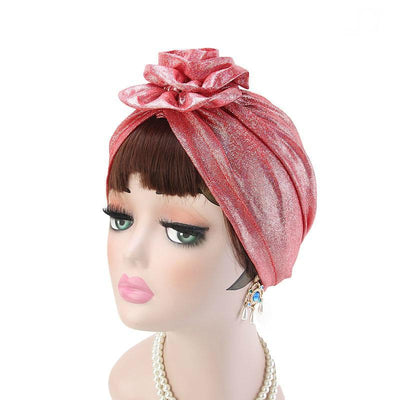 Jo Shiny Flower Turban Elegant  Luxury Hat Cancer Chemo Caps Beanies Muslim Turbante Party Hijab Bandanas Hair accessories Headwrap Red-4