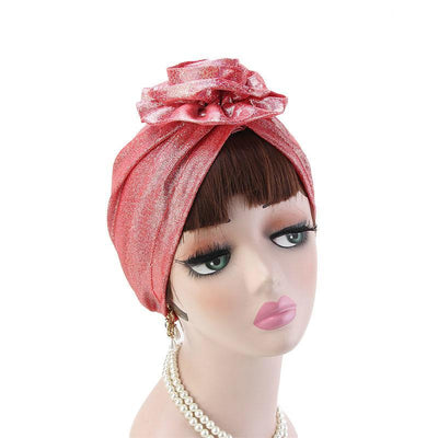 Jo Shiny Flower Turban Elegant  Luxury Hat Cancer Chemo Caps Beanies Muslim Turbante Party Hijab Bandanas Hair accessories Headwrap Red-3