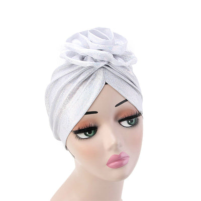 Jo Shiny Flower Turban Elegant  Luxury Hat Cancer Chemo Caps Beanies Muslim Turbante Party Hijab Bandanas Hair accessories Headwrap White