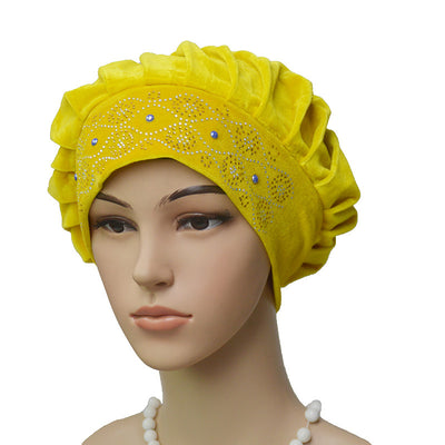 Joan Baggy Hat_African Hat_Head covering_Cap_Beanies_Rasta hat_Yellow