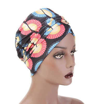 Kim Cotton Head Wrap_Headwear_Head_covering_Headscarves_Basic_chemo_Hat_Pre_Tied_Multi_Color_Summer_Geometric_Black
