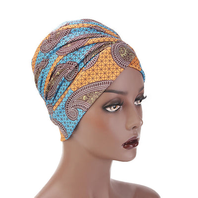 Kim Cotton Head Wrap_Headwear_Head_covering_Headscarves_Basic_chemo_Hat_Pre_Tied_Multi_Color_Summer_Geometric_Blue