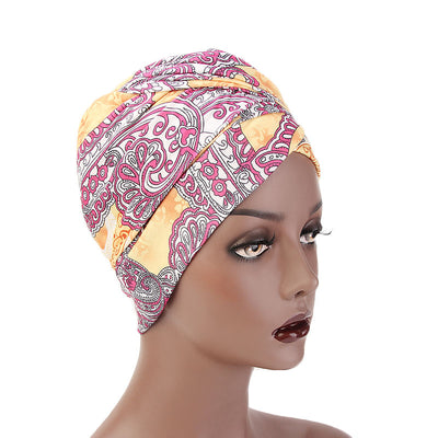 Kim Cotton Head Wrap_Headwear_Head_covering_Headscarves_Basic_chemo_Hat_Pre_Tied_Multi_Color_Summer_Geometric_Orange