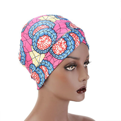 Kim Cotton Head Wrap_Headwear_Head_covering_Headscarves_Basic_chemo_Hat_Pre_Tied_Multi_Color_Summer_Geometric_Pink