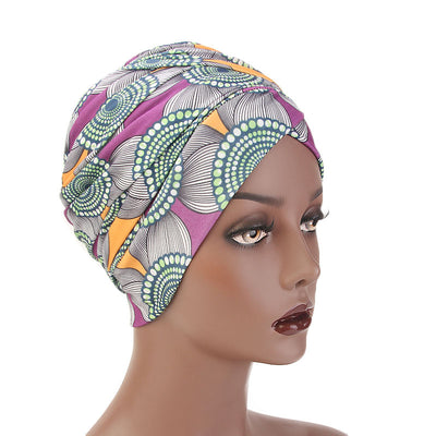 Kim Cotton Head Wrap_Headwear_Head_covering_Headscarves_Basic_chemo_Hat_Pre_Tied_Multi_Color_Summer_Geometric_Purple