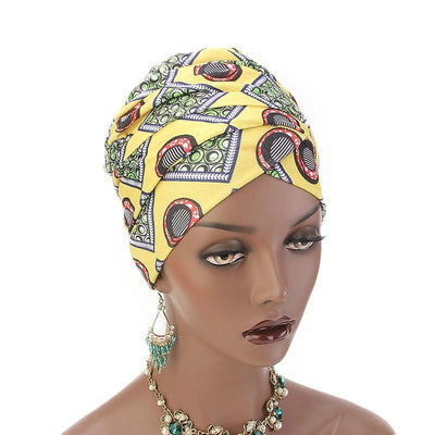 Kim Cotton Head Wrap_Headwear_Head_covering_Headscarves_Basic_chemo_Hat_Pre_Tied_Multi_Color_Summer_Geometric_Yellow