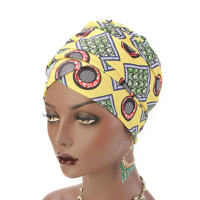 Kim Cotton Head Wrap_Headwear_Head_covering_Headscarves_Basic_chemo_Hat_Pre_Tied_Multi_Color_Summer_Geometric_Yellow-5