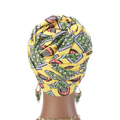 Kim Cotton Head Wrap_Headwear_Head_covering_Headscarves_Basic_chemo_Hat_Pre_Tied_Multi_Color_Summer_Geometric_Yellow-4