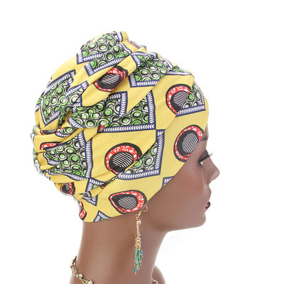 Kim Cotton Head Wrap_Headwear_Head_covering_Headscarves_Basic_chemo_Hat_Pre_Tied_Multi_Color_Summer_Geometric_Yellow-3