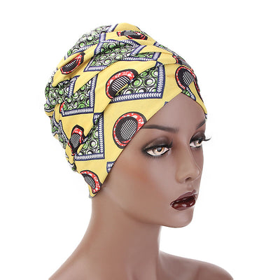 Kim Cotton Head Wrap_Headwear_Head_covering_Headscarves_Basic_chemo_Hat_Pre_Tied_Multi_Color_Summer_Geometric_Yellow-2