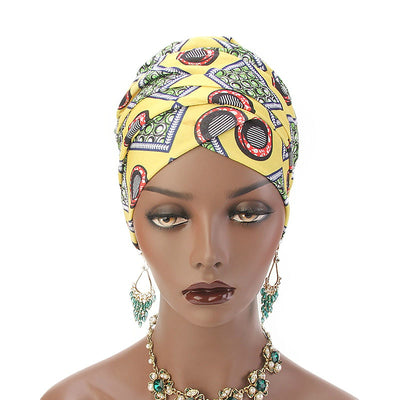 Kim Cotton Head Wrap_Headwear_Head_covering_Headscarves_Basic_chemo_Hat_Pre_Tied_Multi_Color_Summer_Geometric_Yellow-6