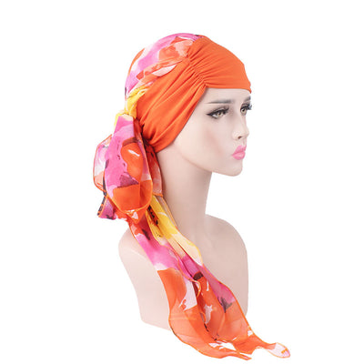 Kimberly Head Wrap_Headscarf_Headwear_Head covering_Headscarves_Islamic Headscarf_Cancer Hat_Chemo Hat_Orange