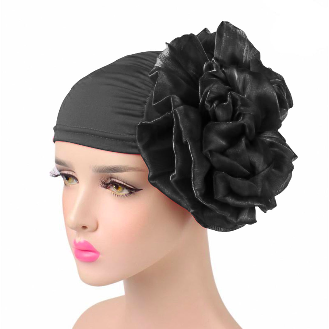 King_flower_turban_Head_covering_Modest_Headcovres_Elegant_Chemo hat_Cancer hat_Fancy_Wine_Black