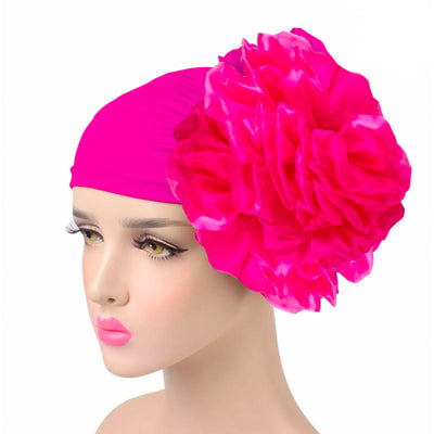 King_flower_turban_Head_covering_Modest_Headcovres_Elegant_Chemo hat_Cancer hat_Fancy_Wine_Pink-2