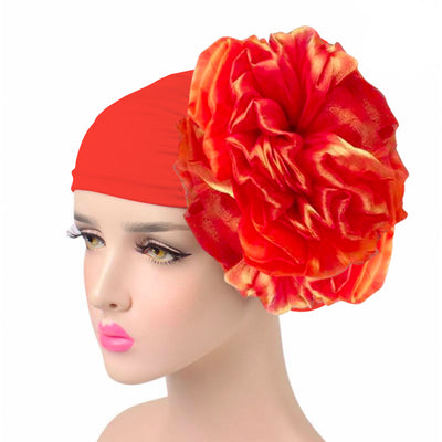 King_flower_turban_Head_covering_Modest_Headcovres_Elegant_Chemo hat_Cancer hat_Fancy_Wine_Orange