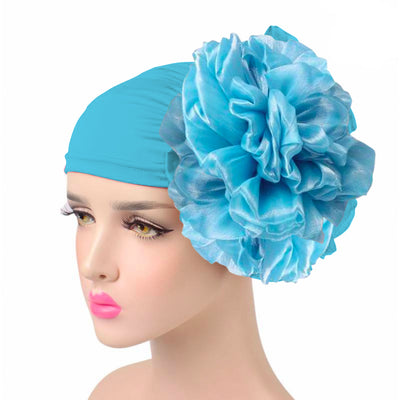 King_flower_turban_Head_covering_Modest_Headcovres_Elegant_Chemo hat_Cancer hat_Fancy_Wine_Blue