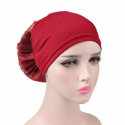 King_flower_turban_Head_covering_Modest_Headcovres_Elegant_Chemo hat_Cancer hat_Fancy_Wine_Red-2