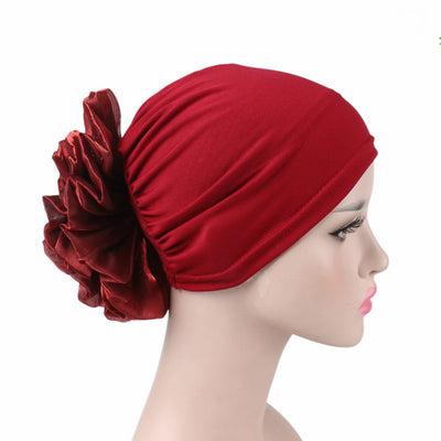 King_flower_turban_Head_covering_Modest_Headcovres_Elegant_Chemo hat_Cancer hat_Fancy_Wine_Red-3