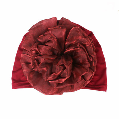 King_flower_turban_Head_covering_Modest_Headcovres_Elegant_Chemo hat_Cancer hat_Fancy_Wine_Red-5