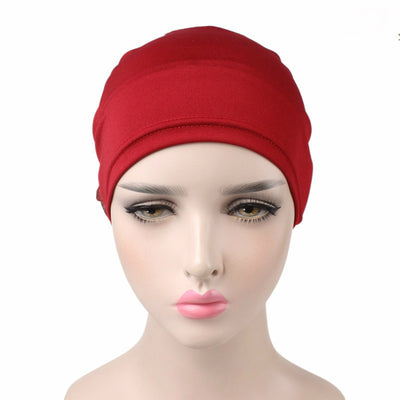 King_flower_turban_Head_covering_Modest_Headcovres_Elegant_Chemo hat_Cancer hat_Fancy_Wine_Red-4