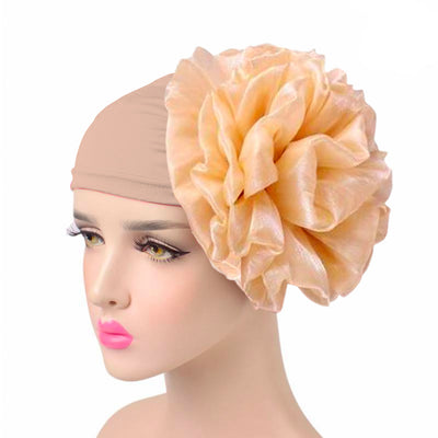 King_flower_turban_Head_covering_Modest_Headcovres_Elegant_Chemo hat_Cancer hat_Fancy_Wine_Beige
